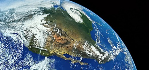Earth and North America from Space - taken from a digitally enhanced, 1972 NASA Apollo 16 Mission negative - one of the last manned flights at this distance - 10,000 miles, or 16,000 kilometers - restored historic photo, not computer generated