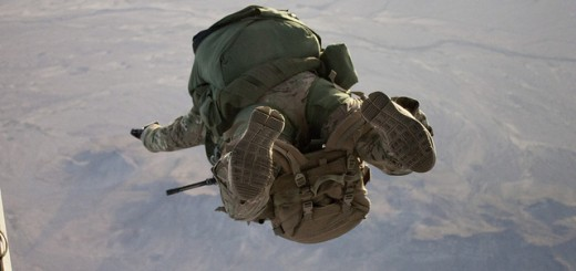 A special-operations Soldier attending the Advanced Tactical Infiltration Course at the Military Freefall School exits an aircraft to conduct a high-altitude, high-opening airborne operation with a full combat load March 10 in Yuma, Ariz.