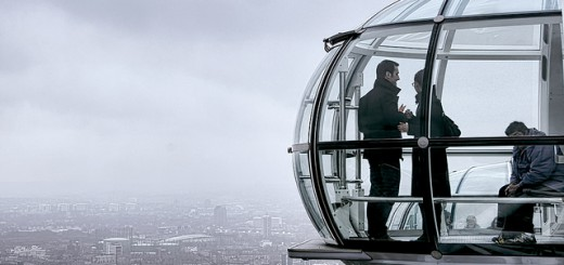 A rainy day on the London Eye. All that stuff down there is London. All that stuff up there is rain.
